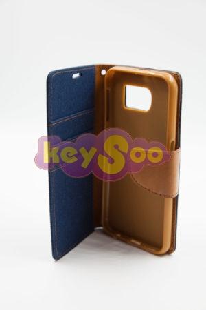 Samsung S6 Canvas Book кейс - navy blue