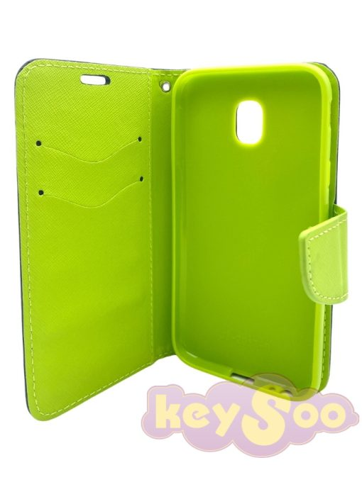 Fancy Book Case Navy Lime-Samsung Galaxy J3 2017