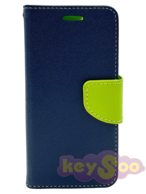 Fancy Book Case Navy-Lime - Samsung Galaxy S7