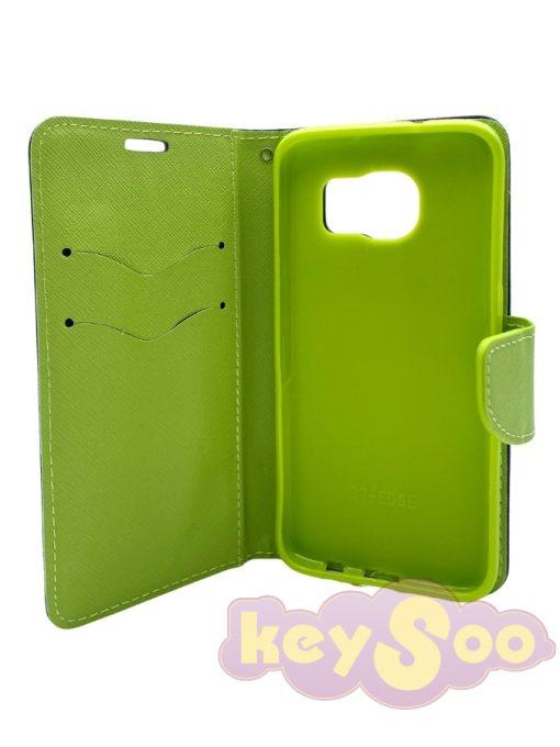 Fancy Book Case Navy Lime-Samsung Galaxy S7 Edge