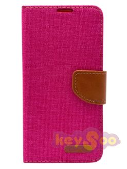 Canvas Book Case Pink-Huawei P Smart 2019
